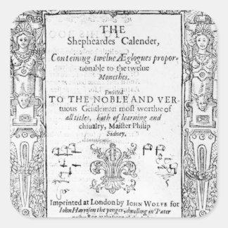 Frontispiece 'del Shepeards Calendar Pegatina Cuadrada