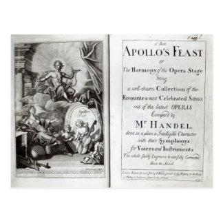 Frontispiece for Apollo's Feast, c.1734 Postcard