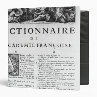 Frontispiece for the French Academy dictionary Binder