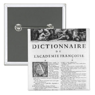 Frontispiece for the French Academy dictionary Pinback Button