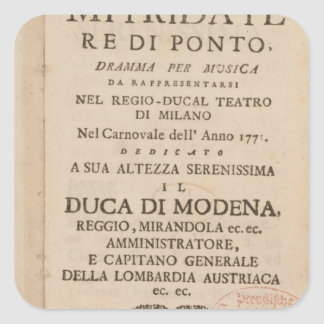 Frontispiece from an early copy square sticker