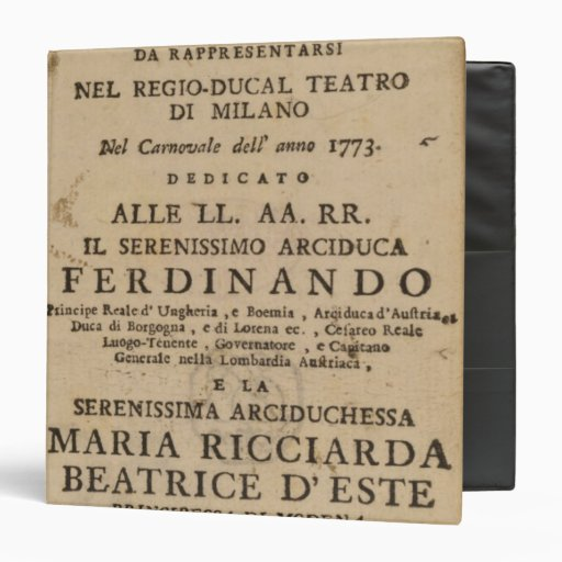 Frontispiece from Mozart's 'Lucio Silla' 3 Ring Binder