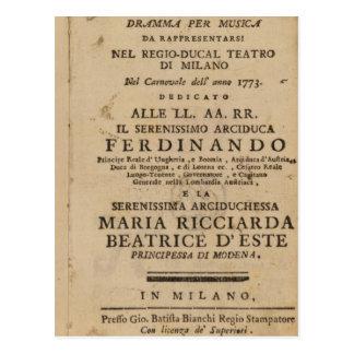 Frontispiece from Mozart's 'Lucio Silla' Postcard