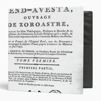 Frontispiece of an edition of the 'Zend 3 Ring Binder