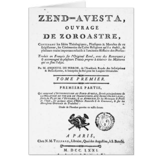 Frontispiece of an edition of the 'Zend Cards