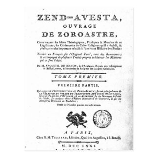Frontispiece of an edition of the 'Zend Postcard