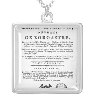 Frontispiece of an edition of the 'Zend Square Pendant Necklace