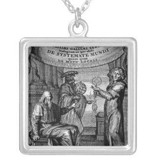Frontispiece of 'Dialogus De Systemate Mundi' Square Pendant Necklace