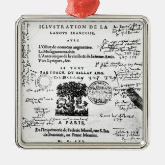 Frontispiece of 'La Defense et Illustration Metal Ornament