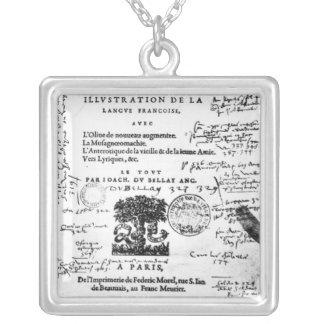 Frontispiece of 'La Defense et Illustration Silver Plated Necklace
