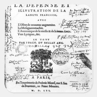 Frontispiece of 'La Defense et Illustration Square Sticker