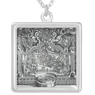 Frontispiece of 'Messes' by Roland de Lassus Square Pendant Necklace