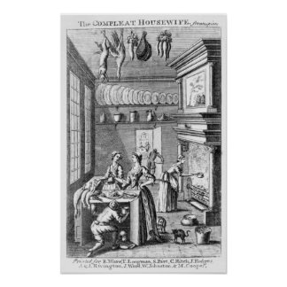 Frontispiece of 'The Compleat Housewife' Poster