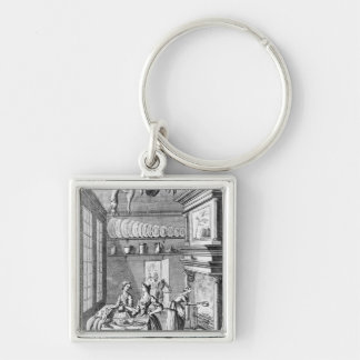 Frontispiece of 'The Compleat Housewife' Silver-Colored Square Keychain