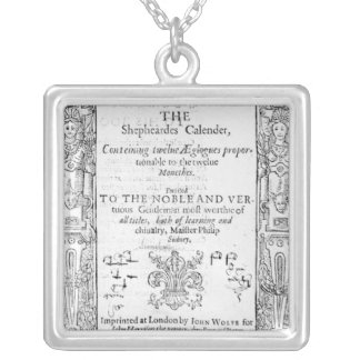 Frontispiece of 'The Shepeards Calender' Square Pendant Necklace