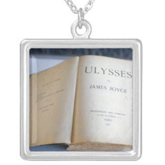 Frontispiece of 'Ulysses' by James Joyce Square Pendant Necklace