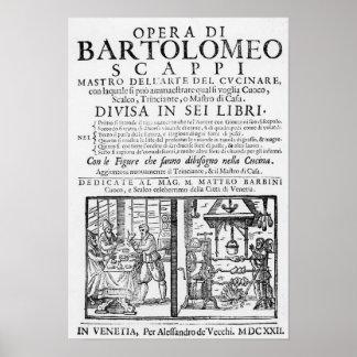 Frontispiece para cocinar el libro de Bartolomé Sc Póster