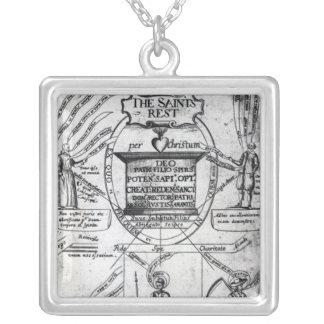 Frontispiece,  'The Saints Everlasting Rest' Square Pendant Necklace