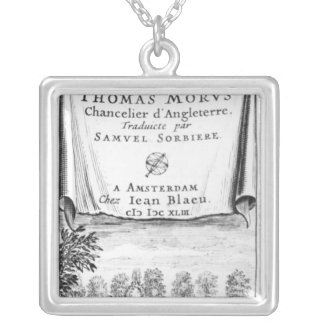 Frontispiece, 'The Utopia of Thomas More' Square Pendant Necklace