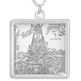 Frontispiece to an agricultural almanach square pendant necklace