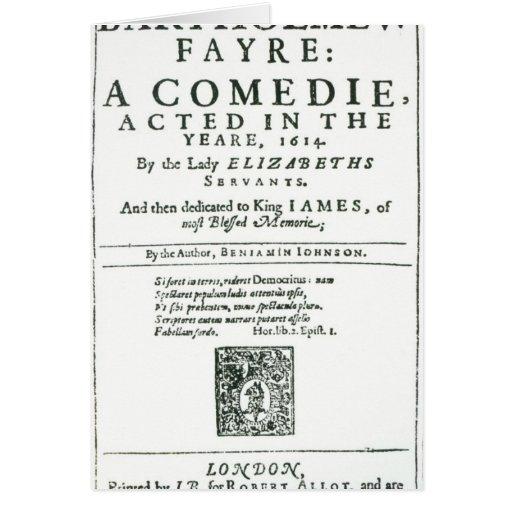 Frontispiece to 'Bartholomew Fair' Card