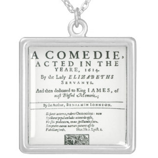 Frontispiece to 'Bartholomew Fair' Square Pendant Necklace