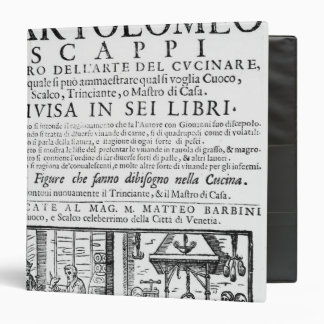 Frontispiece to cook book of Bartolomeo Scappi Binder