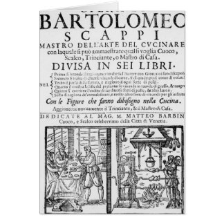 Frontispiece to cook book of Bartolomeo Scappi Card