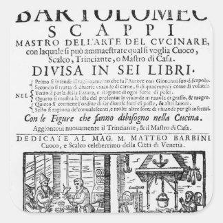 Frontispiece to cook book of Bartolomeo Scappi Square Sticker
