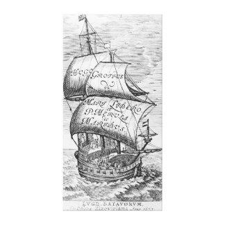 Frontispiece to 'De mari libero', by Hugo Grotius Canvas Print