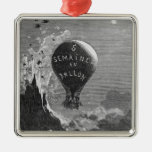 Frontispiece to 'Five Weeks in a Balloon' Metal Ornament
