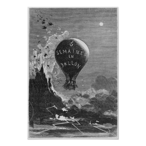 Frontispiece to 'Five Weeks in a Balloon' Poster