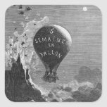 Frontispiece to 'Five Weeks in a Balloon' Square Sticker