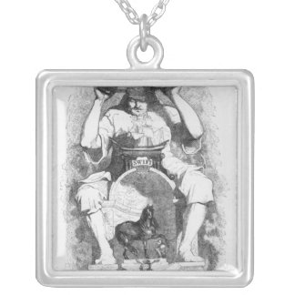 Frontispiece to 'Gulliver's Travels' by Square Pendant Necklace