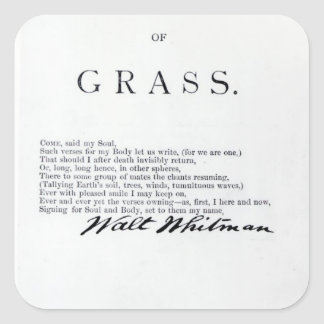 Frontispiece to 'Leaves of Grass' Square Sticker