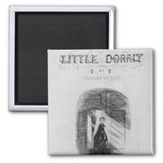 Frontispiece to 'Little Dorrit' by Charles 2 Inch Square Magnet