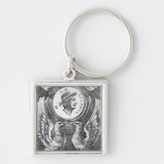 Frontispiece to 'Lucan's Pharsalia' Silver-Colored Square Keychain