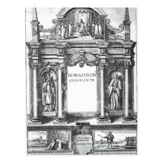Frontispiece to 'Monasticon Anglicanum' Postcard