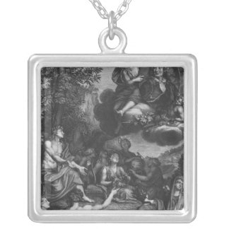 Frontispiece to 'Oeuvres' by Nicolas Boileau Square Pendant Necklace