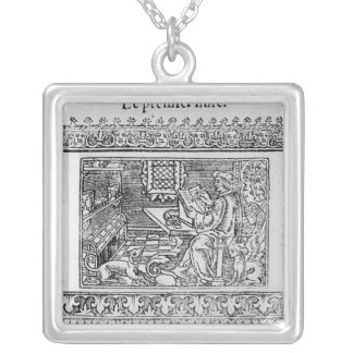 Frontispiece to the first book of Utopia Silver Plated Necklace