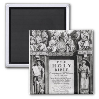 Frontispiece to 'The Holy Bible' 2 Inch Square Magnet