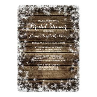 Frost Bite Barn Wood Rustic Winter Bridal Shower 5x7 Paper Invitation Card