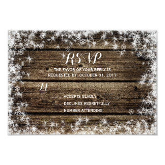 Frost Bite Barn Wood Rustic Winter Wedding RSVP Card
