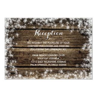 Frost Bite Barn Wood Winter Wedding Reception 3.5x5 Paper Invitation Card