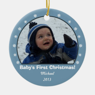 Frost Blue Round Snowflake Christmas Ornament