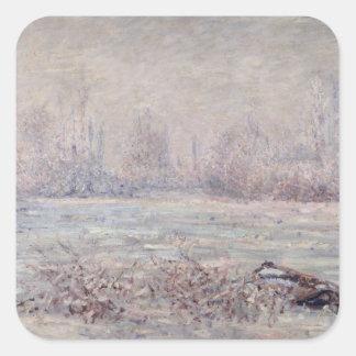 Frost cerca de Vetheuil, 1880 Calcomanía Cuadradas Personalizadas