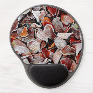 Frost covered autumn leaves gel mousepads