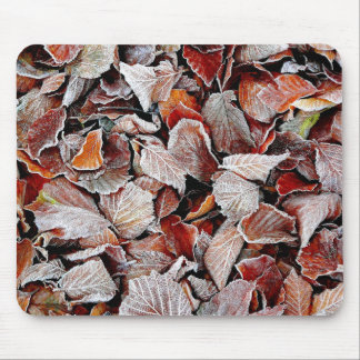 Frost covered autumn leaves mouse pads
