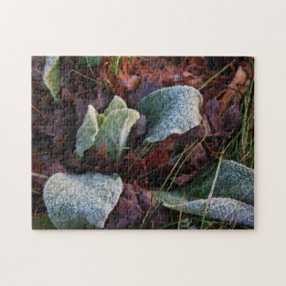 Frost Covered Leaves Jigsaw Puzzle
