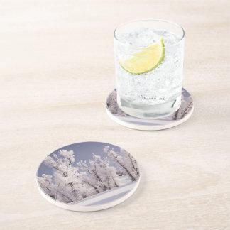 Frost cubrió los árboles y la cerca, Colorado Posavasos Para Bebidas